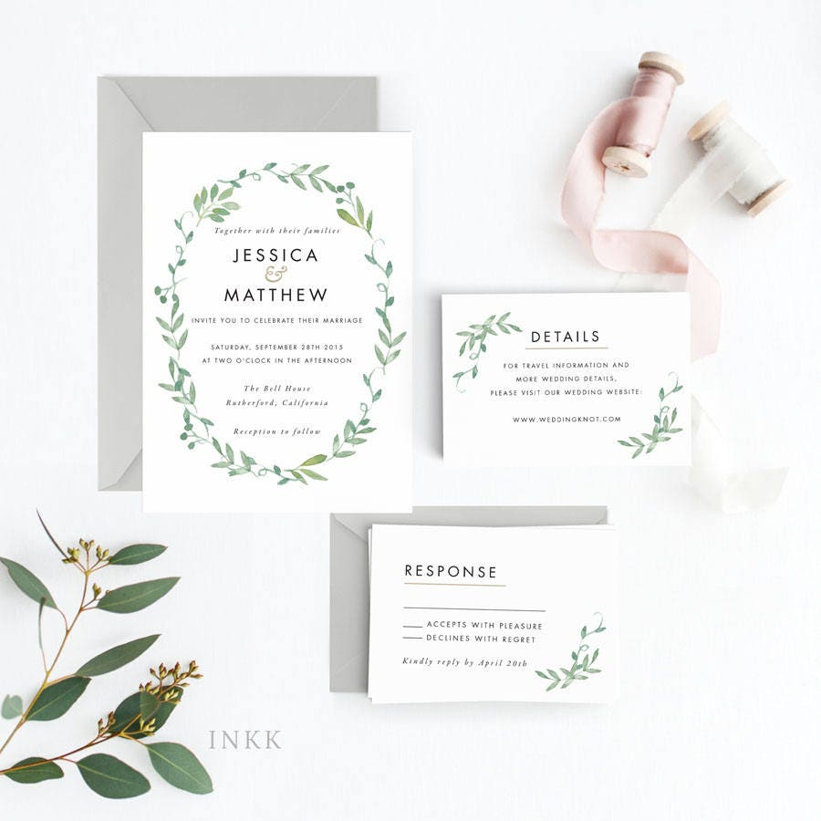 Floral Wedding Invitation Suite Wedding Invitation Printable