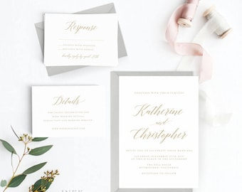 Modern Wedding Invitation Suite, Wedding Invitation Printable, Invitation Set, Wedding Invitation Rustic, PDF Letter or A4 (Item code: P477)