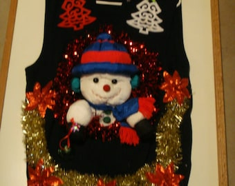 deb mans snowman ugly christmas sweater size med vest tacky decorations party winner - Ugly Christmas Decorations