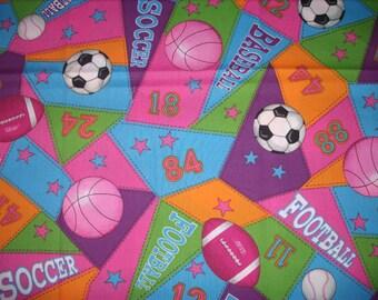 REMNANT-1/2 yard cotton fabric- sports balls
