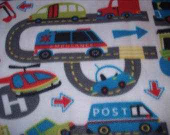 Remnant-3/4 yard-fleece fabric-cars and trucks on the road
