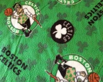REMNANT-5/8 yard-fleece fabric-boston Celtics