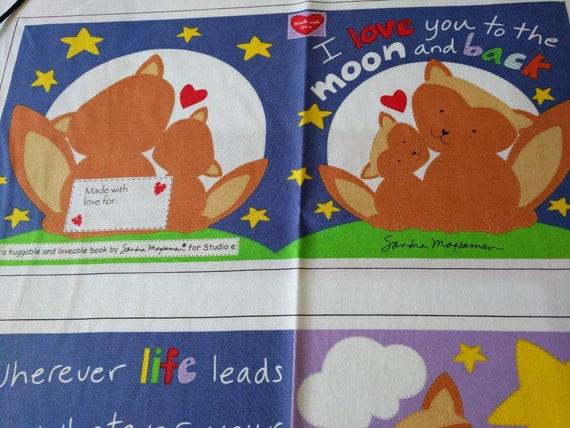 cloth storybook panel to make-I love you to the moon and back.