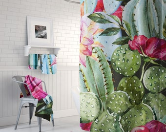 Floral Cactus Tropical Shower Curtain