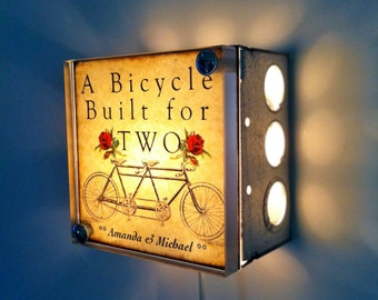 Wedding Lamp Bicycle Built For Two Repurposed Upcycled Light Box Night Lights