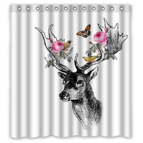 Floral Forrest Deer With Birds Shower Curtain Deer Shower Etsy