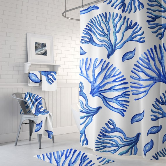 Blue Coral Shower Curtain Nautical