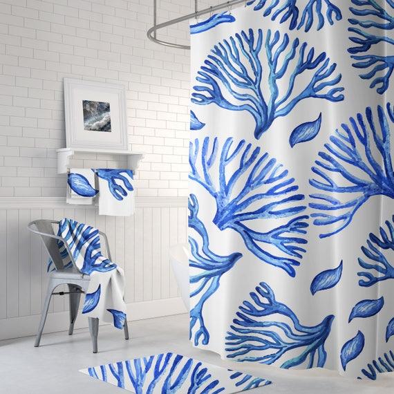 Blue Fish Nautical Sea Ocean Beach Fabric Shower Curtain Digital Art Bathroom
