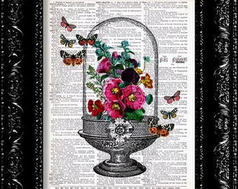 Spring Flowers and Butterfly Terrarium Glass Dome - Vintage Dictionary Print Vintage Book Print Page Art Upcycled Vintage Book Art