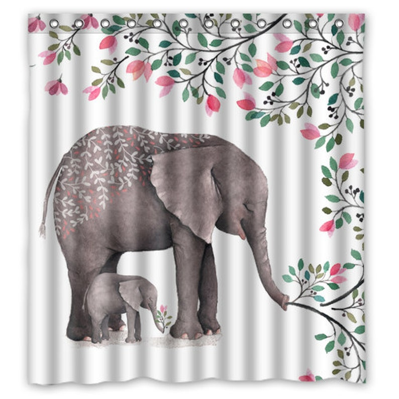 Watercolor Mother And Baby Elephant Shower Curtain
