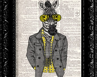 Zebra Hipster, DICTIONARY  Print, Geeky Zebra  In Suit, Print, Book page, Upcycled Book Page, Gift, Dorm home wall decor