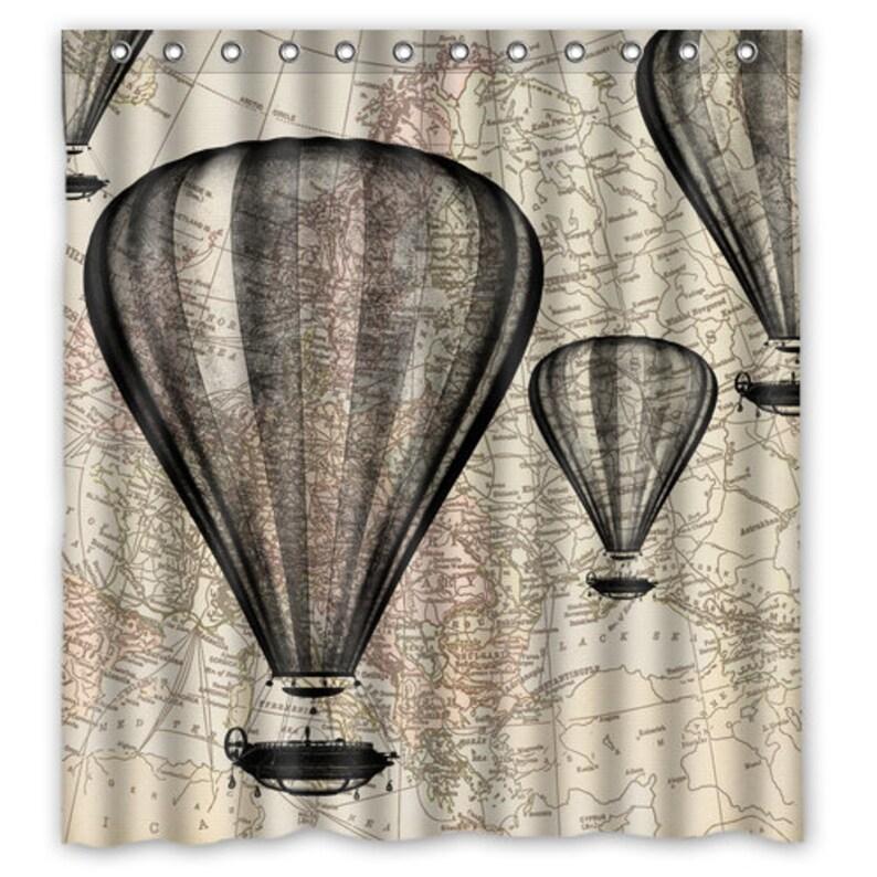Map Shower Curtain Hot Air Balloon Hot Air Balloon Bath | Etsy