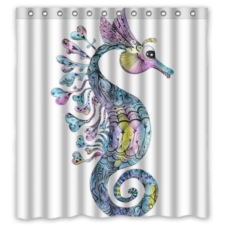 Watercolor Seahorse Shower Curtain Bath Decor