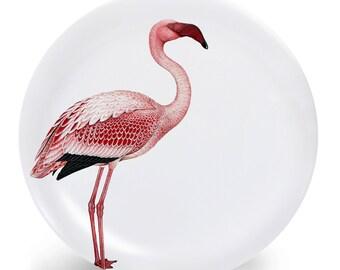 Pink Flamingo Bird Melamine Plate - Flamingo Plate - Tropical Bird Dinnerware - Melamine Dinner Plate - Vintage Pink Flamingo Bird Print