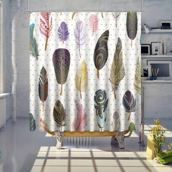Boho Feather Shower Curtain Print