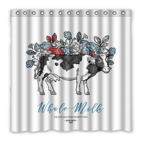 Farmhouse Boho Chic Dairy Cow Shower Curtain Live Stock