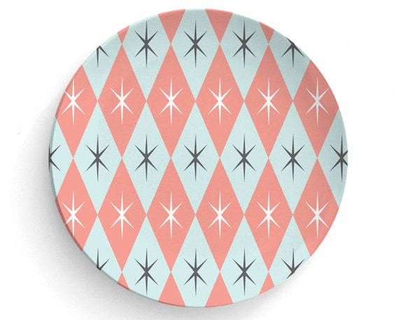 Dinner Plate Melamine Plate Retro Aqua Pink Gold No 70/'s Retro Melamine Plate gift 6 atomic era- decorative plate Retro 60/'s 70/'s