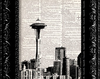 Sale - Seattle City Skyline -  Vintage Dictionary Print Vintage Book Print Page Art  Vintage Book Art