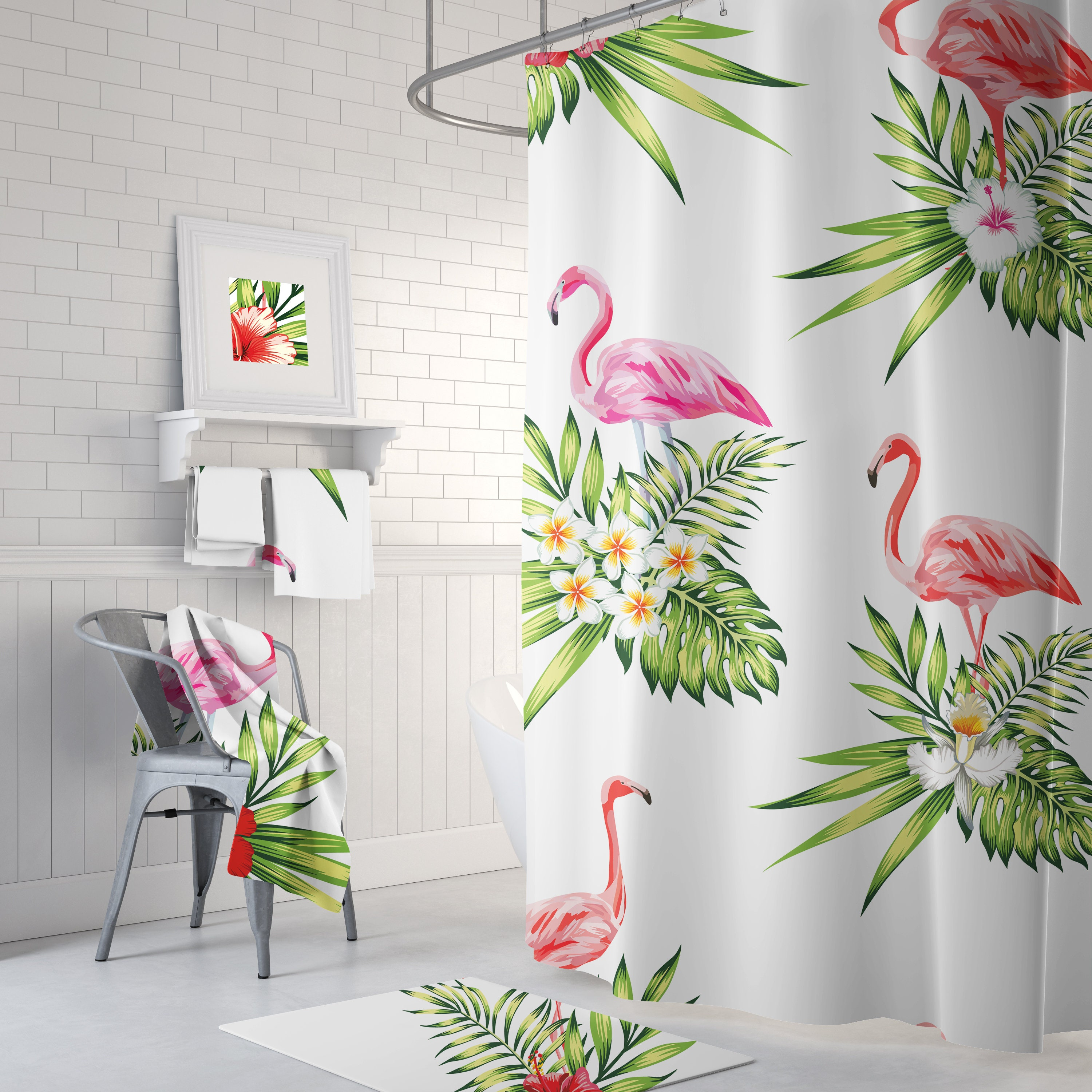 Pink Flamingo Floral Palm Shower Curtain Tropical