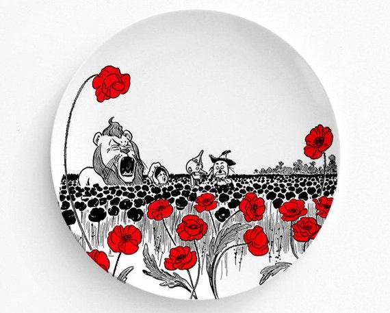 Wizard Of OZ Poppy Field Plate, Melamine Plate, decorative plate, Dinner Plate, Dorothy