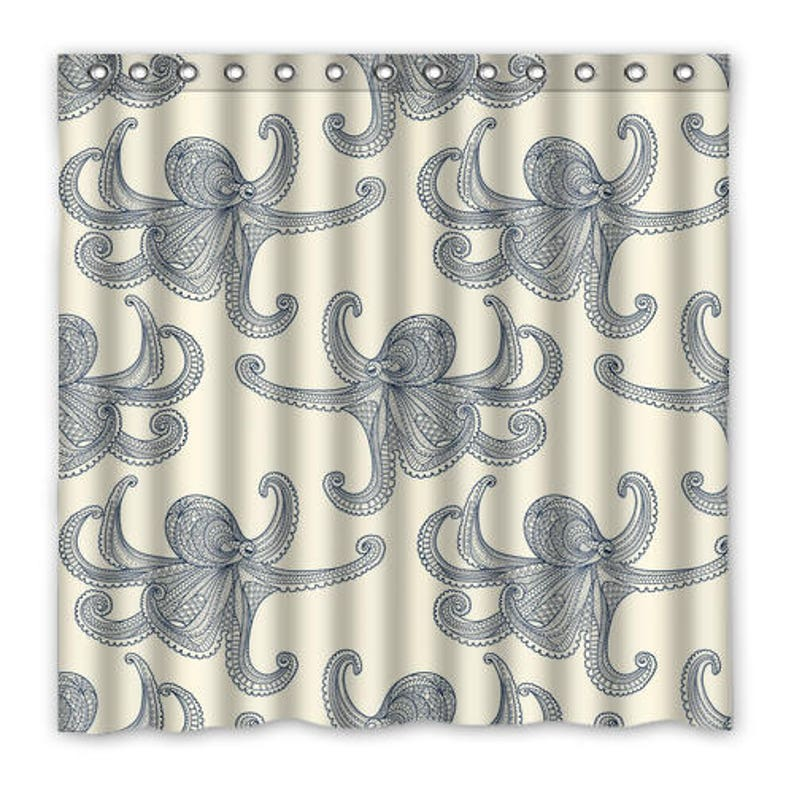Art Deco Octopus Shower Curtain Blue Cream