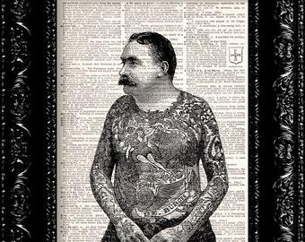 BOGO - Tattoo Man - Vintage Dictionary Print Vintage Book Print Page Art Upcycled Vintage Book Art