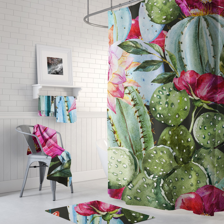 Floral Cactus Tropical Shower Curtain Succulent