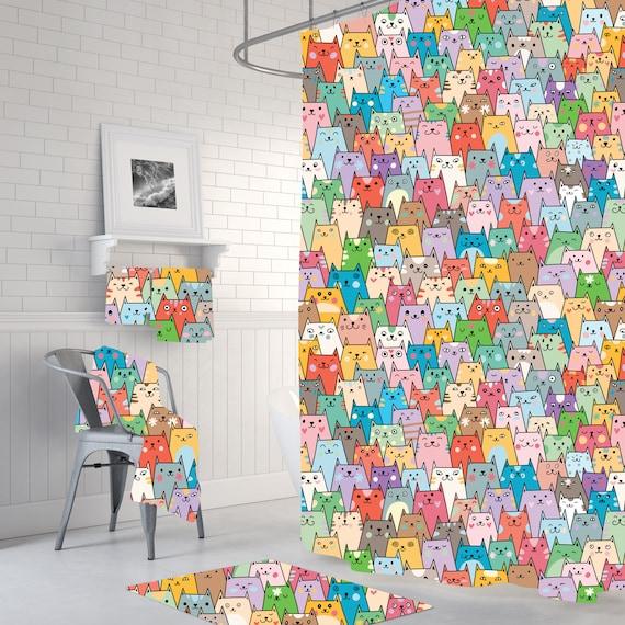 cat shower curtain - bathroom decor - crazy cat lady - cat themed bathroom  decor - home decor - bath mats - bath towels