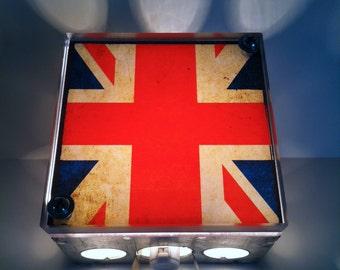 Union Jack British Flag - Repurposed Vintage Dictionary Print Design Night Light Box Upcycled Lamp