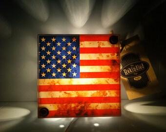 American Flag NIght Light - Vintage Dictionary Print Design Repurposed Upcycled Light Box Night Lights