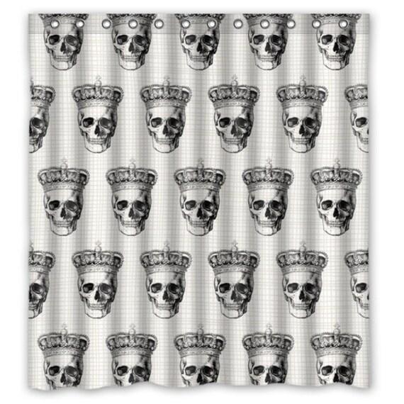 Black Skull Shower Curtain Anatomy