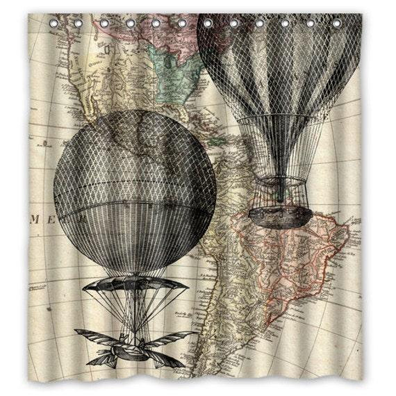 Hot Air Balloon Vintage Map Shower Curtain Hot Air Balloon | Etsy