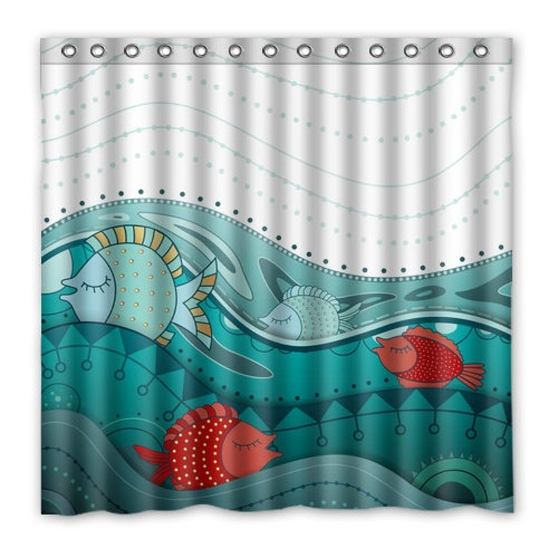 Nautical Beach House Shower Curtain Fish Ocean Waves   Etsy
