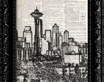 Sale - Seattle Skyline - Black and White -  Vintage Dictionary Print Vintage Book Print Page Art  Vintage Book Art