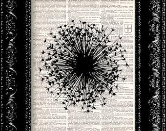 Wish Stick Dandelion - Vintage Dictionary Print Vintage Book Print Page Art Upcycled Vintage Book Art