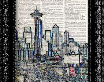 Sale - Seattle Skyline Color -  Vintage Dictionary Print Vintage Book Print Page Art  Vintage Book Art