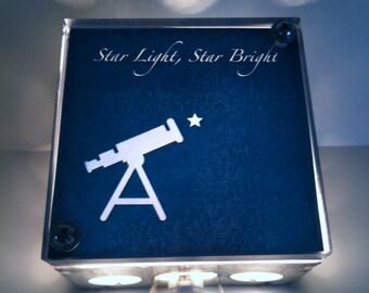 Star Light Star Bright light Box, Repurposed Light, Night Light, Light Box, Upcycled Lamp, hanging light
