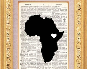 BOGO - Africa Map Love Art Vintage Dictionary Print Vintage Book Print Page Upcycled Book Art