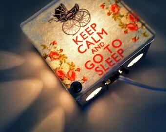 Keep Calm And Go To Sleep- Upcycled- Light Box- Night Lights