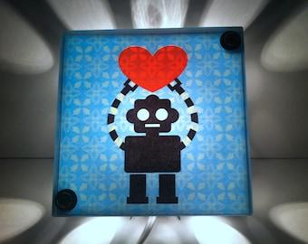 Robot Love light Box, robot Baby Nursery decor,  Night Light - Repurposed light, Night Light, robots, nursing light, nursery lamp