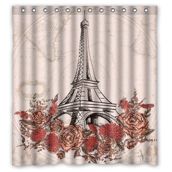 Paris Eiffel Tower Shower Curtain Map