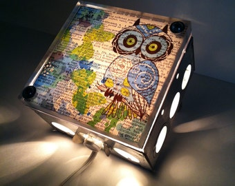 Precious Blue Floral Baby Owl - Repurposed Vintage Dictionary Print Design Night Light