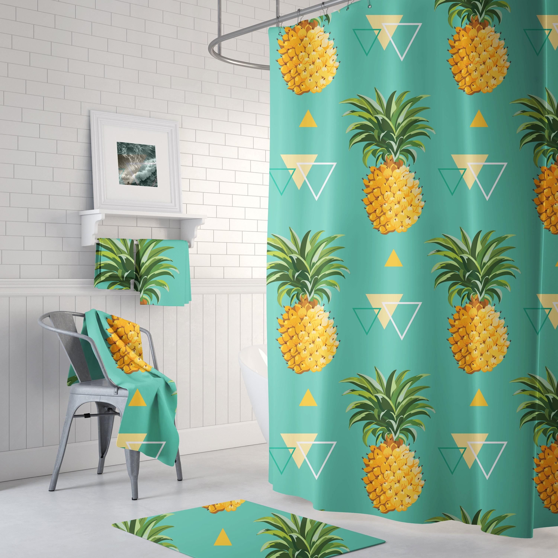 Pineapple Shower Curtain Tropical Shower Curtain Bathroom