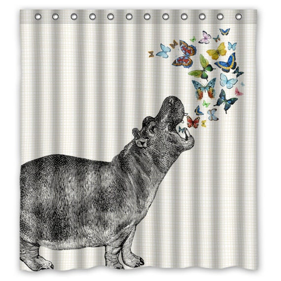 Hippo Butterfly Shower Curtain Animal