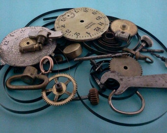 clock parts watch parts old cogs springs  steampunk parts large boing wheels BB120