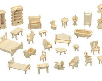 Mini Dolls House Furniture Kit   Wood Craft   Self Assembly Decorate 34  Pieces   Room Sets