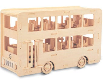 Double Decker Bus Construction Kit - Wood Model - Self Assembly - Craft London