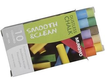 Dustless Chalkboard Chalk - Pack of 10 Sticks - Assorted Colours - Children Draw Chalks