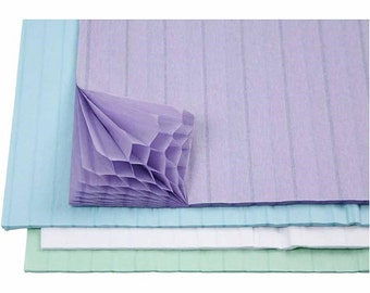 Concertina Honeycomb Paper - Pastel Blue Lilac & White Pack 8 Sheets - Craft Decorations 3D Shapes