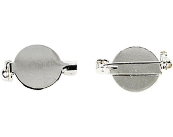 Brooch Back - Silver Plated - Wire Sew Glue - Round 20mm - Jewellery Jewlry Badge Decoration - Pack of 5